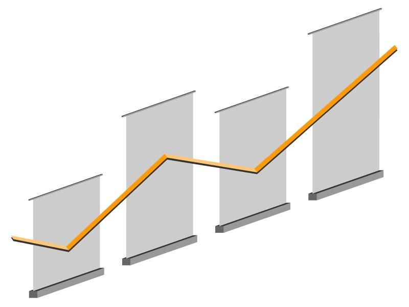 """Примеры расстановки ролл ап конструкций - расстановка """"Диаграмма"""""""