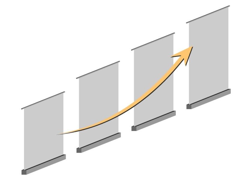 """Примеры расстановки ролл ап конструкций - расстановка """"Карьерный рост"""""""